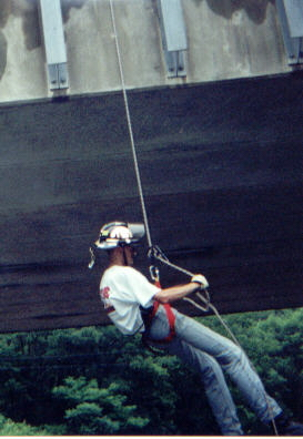 Me rappelling off Coopers Rd. Bridge