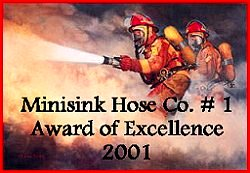 Awarded by Minisink Hose Co. Feb 12th 2001 Displayed with Pride.